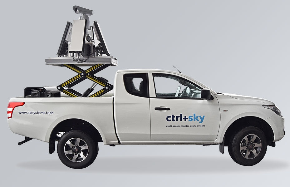 ctrl+sky mobile - Mobile drone detection and neutralization system mounted on vehicle. It ensures protection of mass events, borders and other airspace against unseemly or hostile use of drones, day and night, in any weather conditions. The Ctrl+Sky provides an umbrella-like protection without blind zones and enables effective detection of small drones at a distance of up 2000 m, with minimal false alarms.