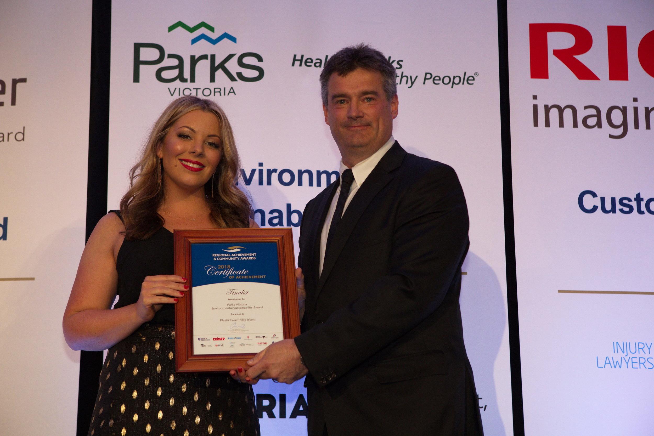 Founder Lauren Barker with Parks Victoria CEO Matthew Jackson