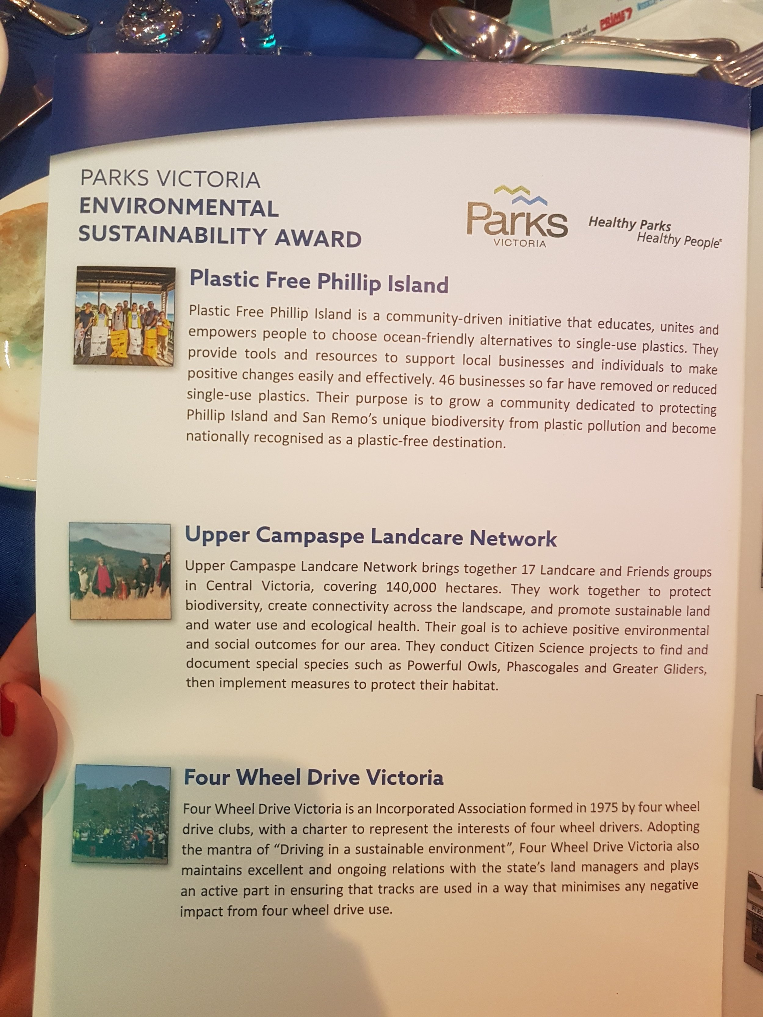 Finalists in the Parks Victoria Environmental Sustainability Category