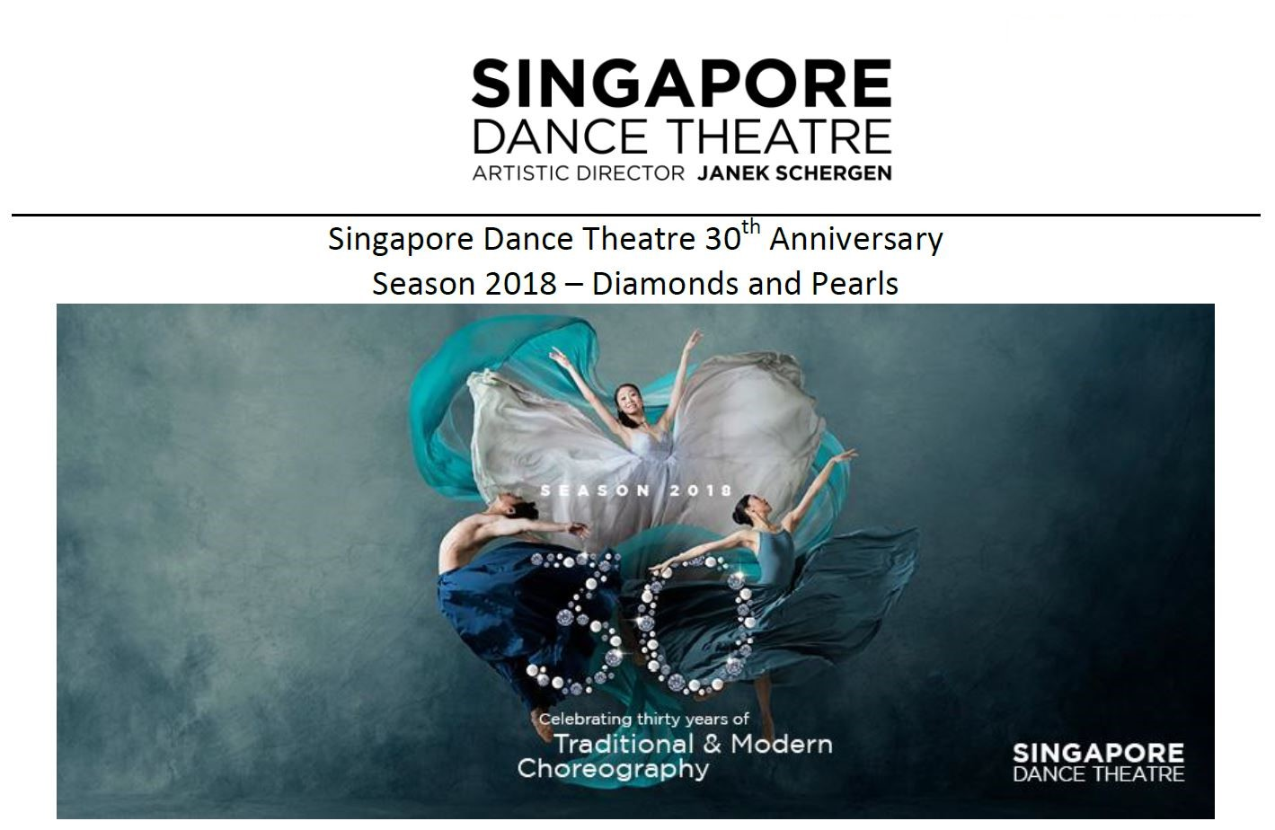 We are honoured to be the official textile recycling partner of Singapore Dance Theatre (SDT). We are looking forward to working with an organisation which plays such a large part in Singapore's arts culture. In conjunction with their 30th anniversary, SDT is making sustainability part of their corporate identity.  We hope to see more organisations step forward to make corporate social responsibility and environmental stewardship part of their mission!
