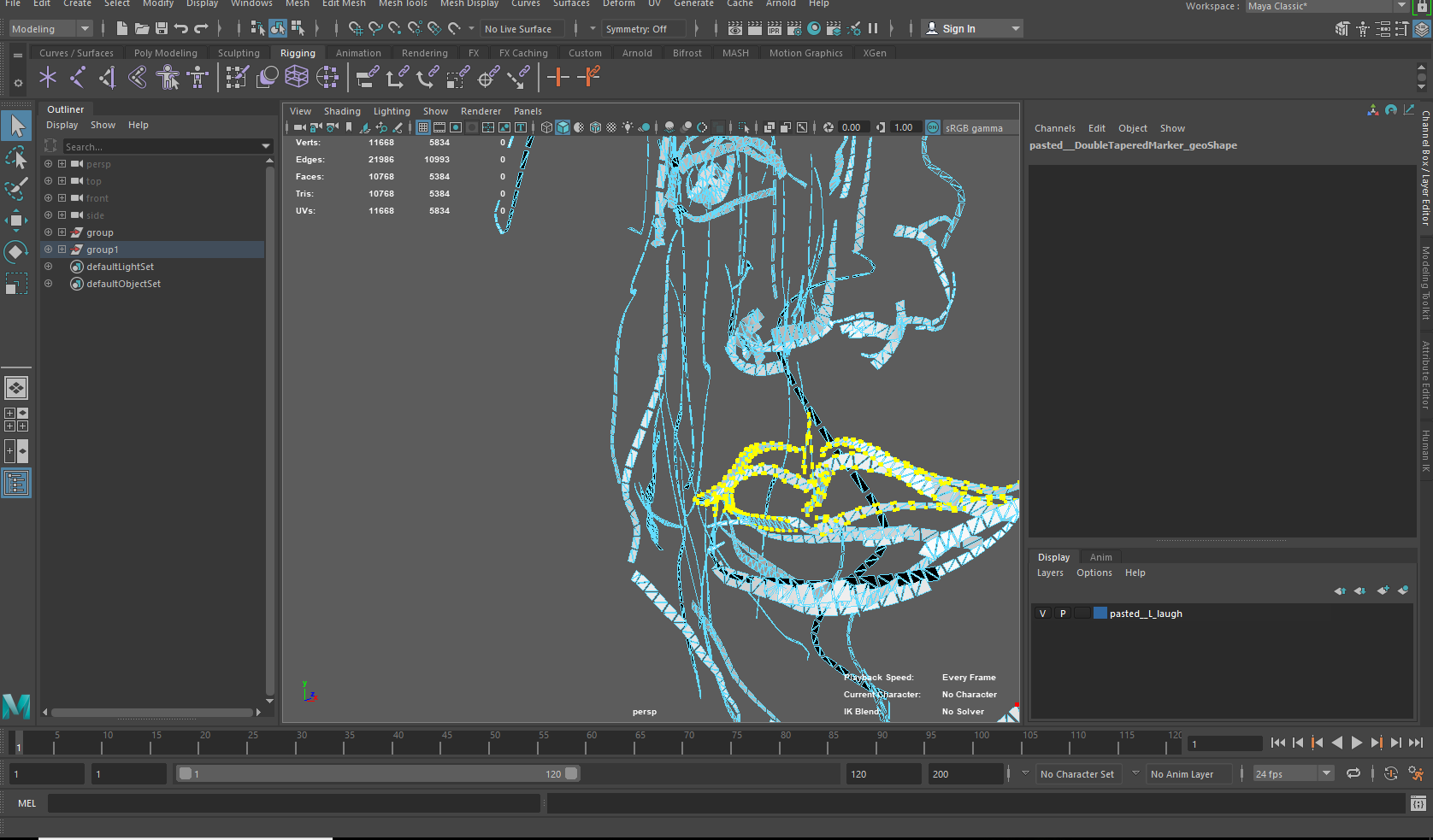 Rigging Tilt brush face in Maya