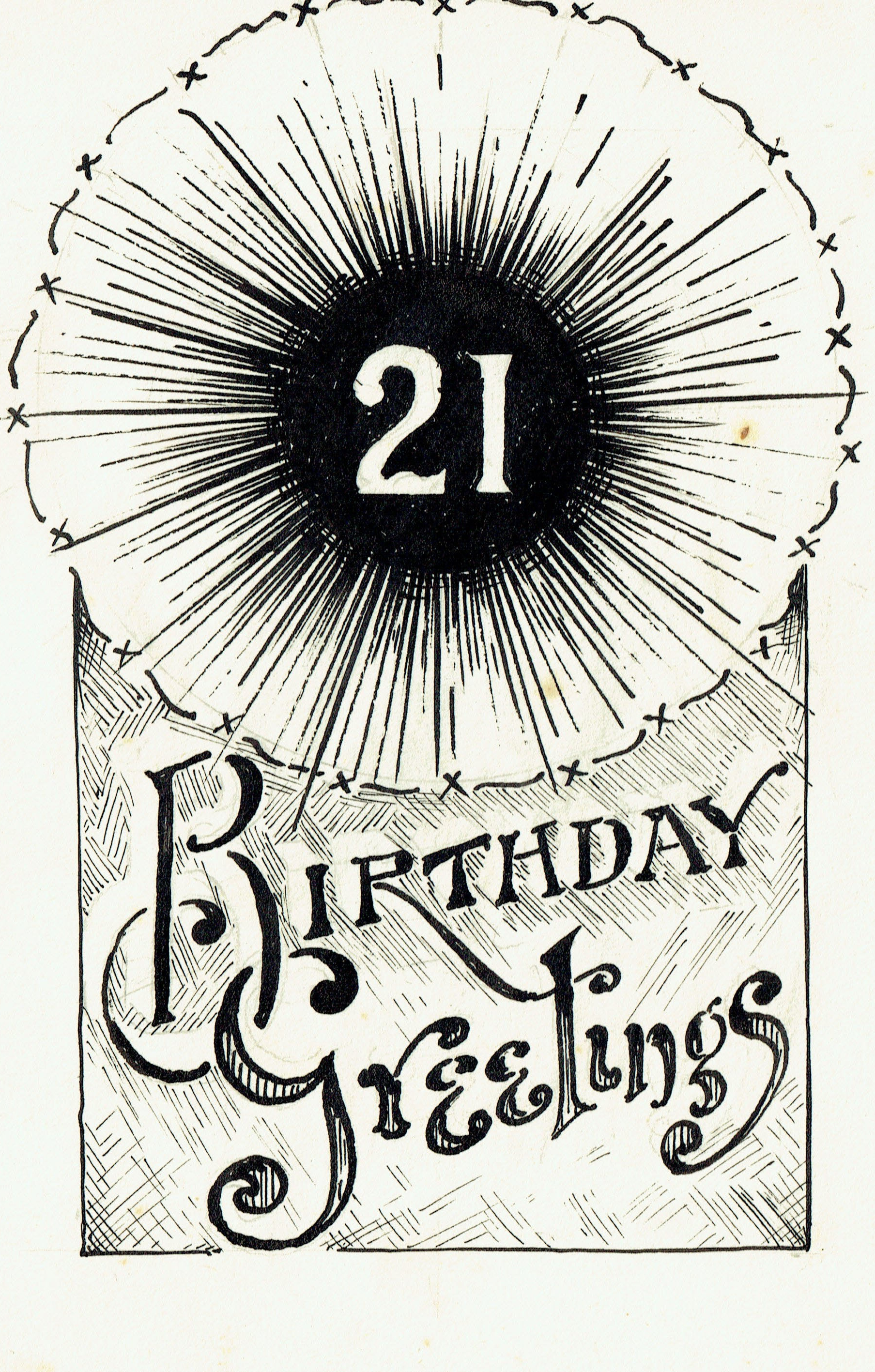 Card drawn by Reg for Doreen's 21st birthday card, 1944