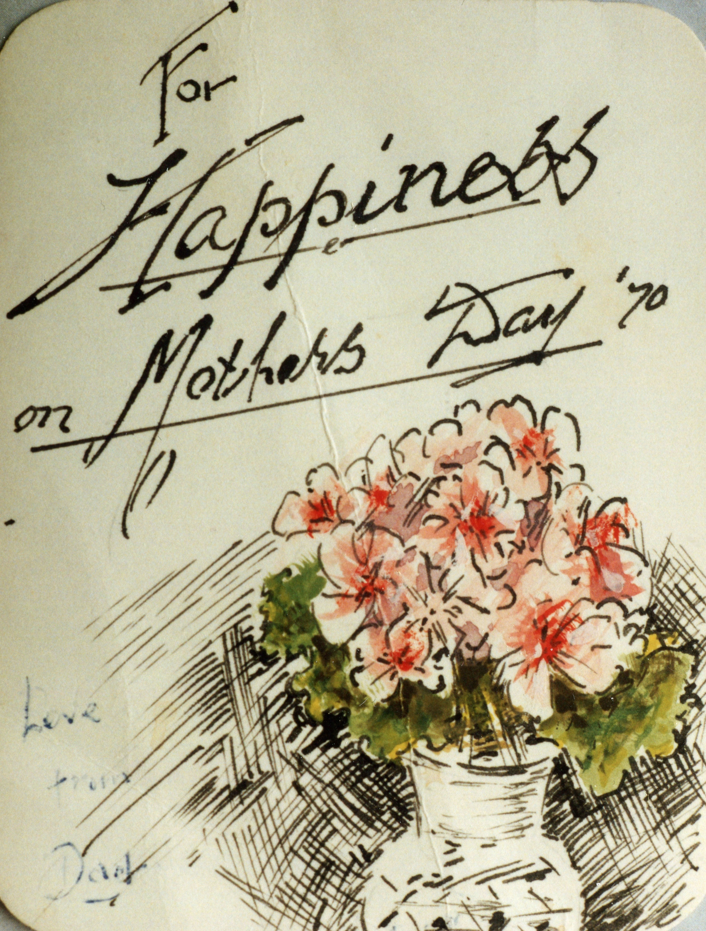 Card drawn by Reg for May, Mother's Day 1970