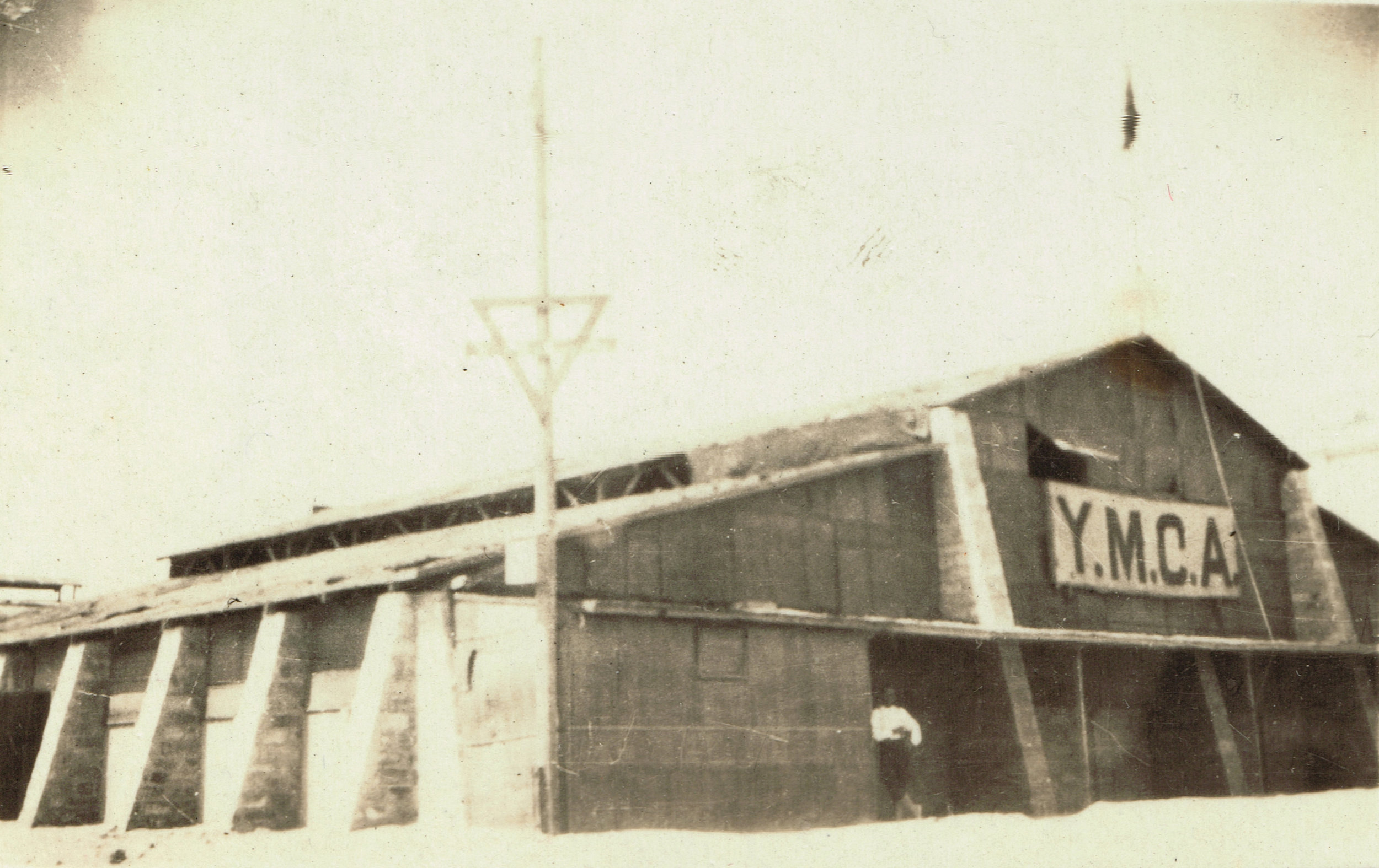 """The YMCA at Port Said Rest Camp. """"The chap is leaning against my office."""""""