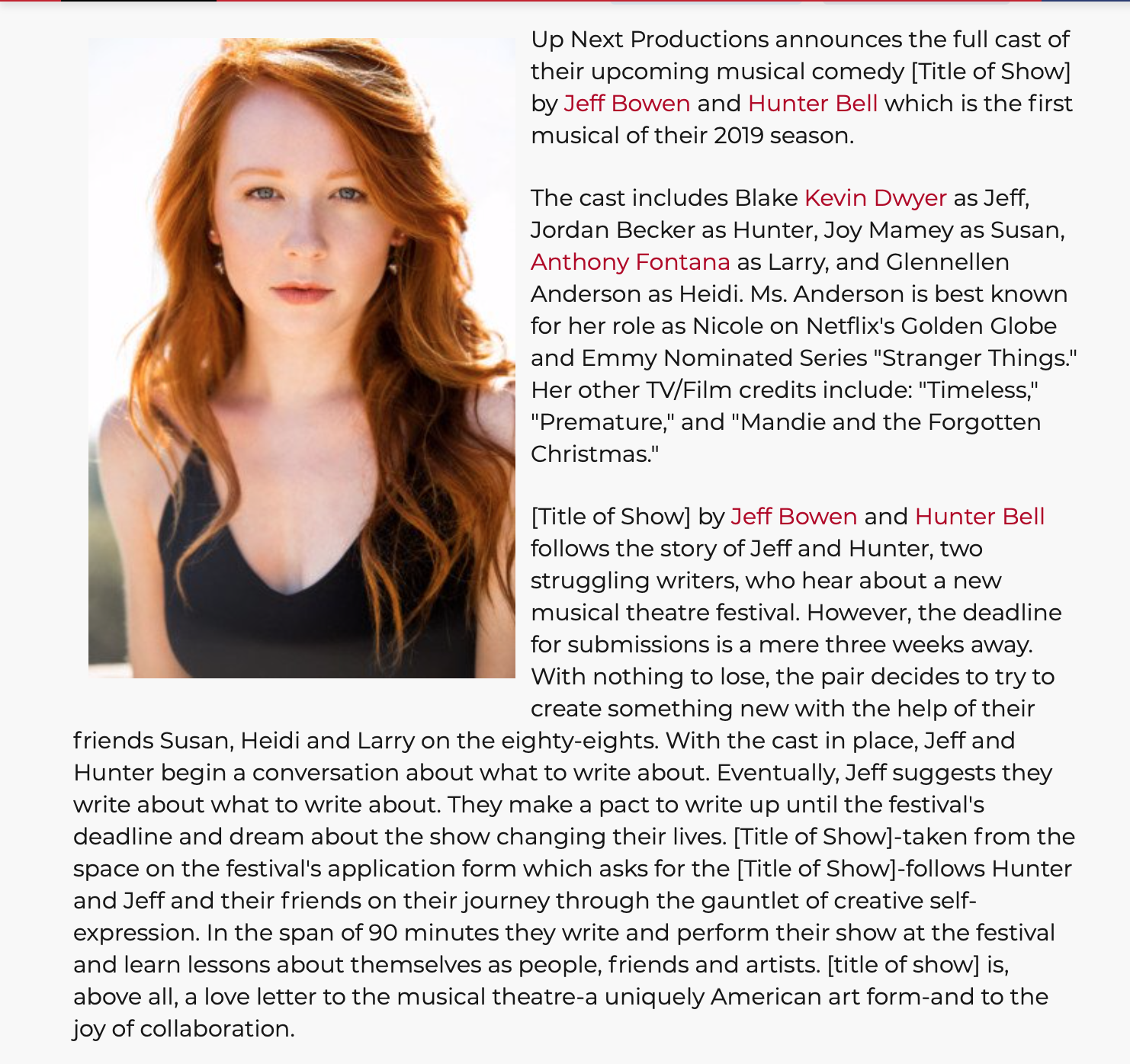 FULL ARTICLE:    BROADWAYWORLD.COM