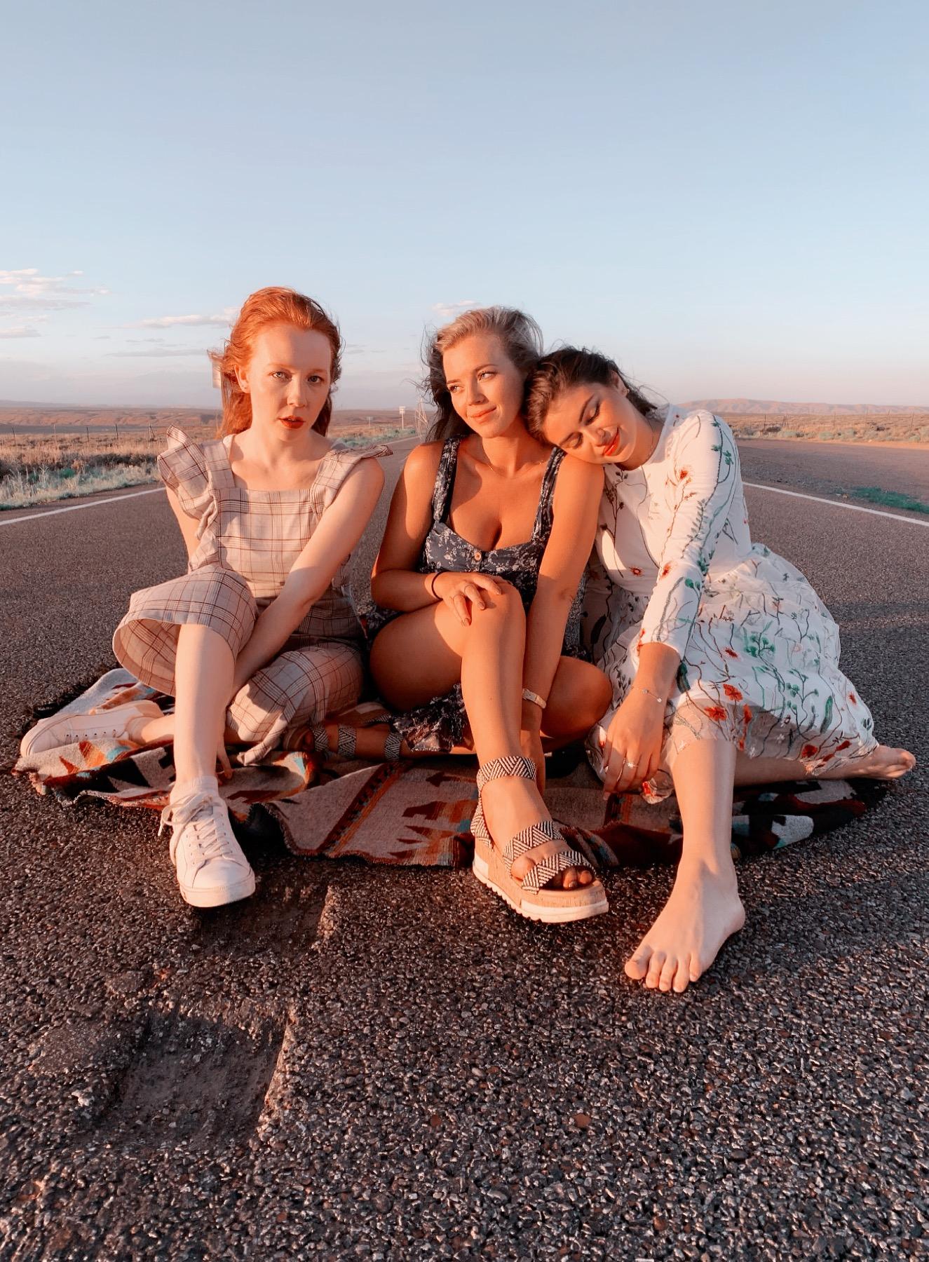Glennellen, alongside (from middle)  Savannah Bell  and  Grace Auten . Monument Valley, Utah.