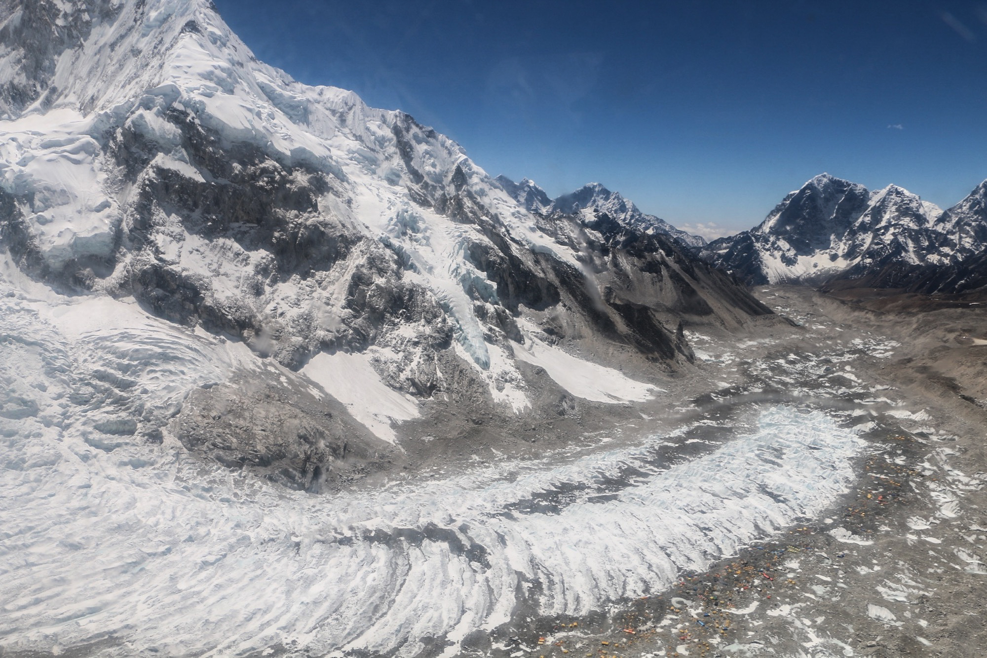 Looking at Everest Base Camp from Helicopter