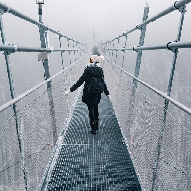 Taking a chance and walking high above the ground on a frigid bridge. It was freezing this day and it made the short but steep hike up an interesting one. Once we got to the top the conditions went from totally foggy to really clear in the matter of seconds. Totally worth checking out @highline179 if you're driving through the Austrian alps ever. . . . . .  #instapassport #thecreative #artofvisuals #aroundtheworldpix #ig_masterpiece #theprettycities #flashesofdelight #travelog #mytinyatlas #visualmobs #theglobewanderer #forahappymoment #exploringtheglobe #travelon #awesome_earthpix #campinassp #visualoflife #awesome_naturepix #roamtheplanet #unlimitedparadise #dametraveler #planetdiscovery #discoveryearth