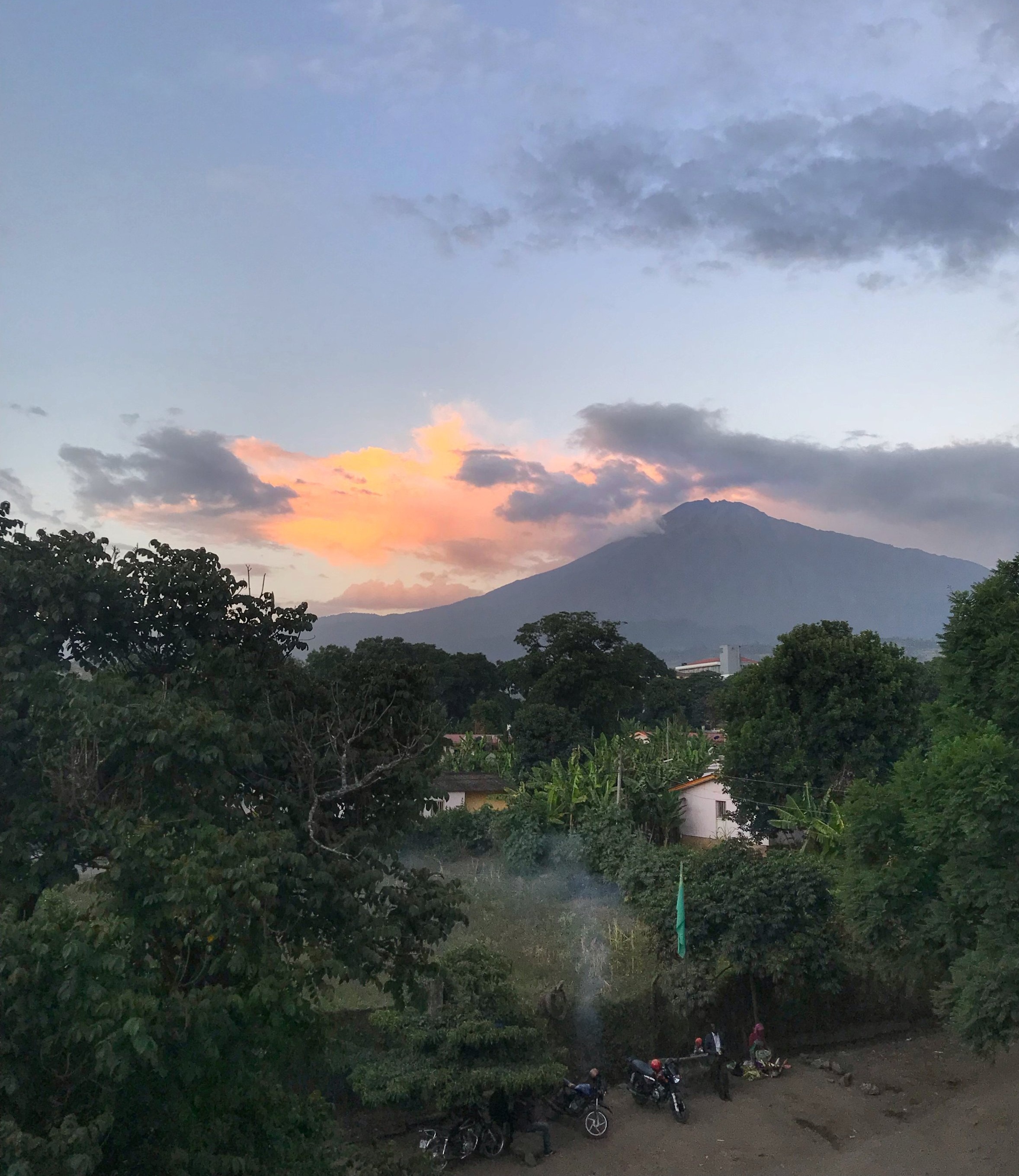 Mt. Meru - Morning views of one of the acclimatization mountains most people climb before attempting Kilimanjaro, Mt. Meru (14,977 feet)