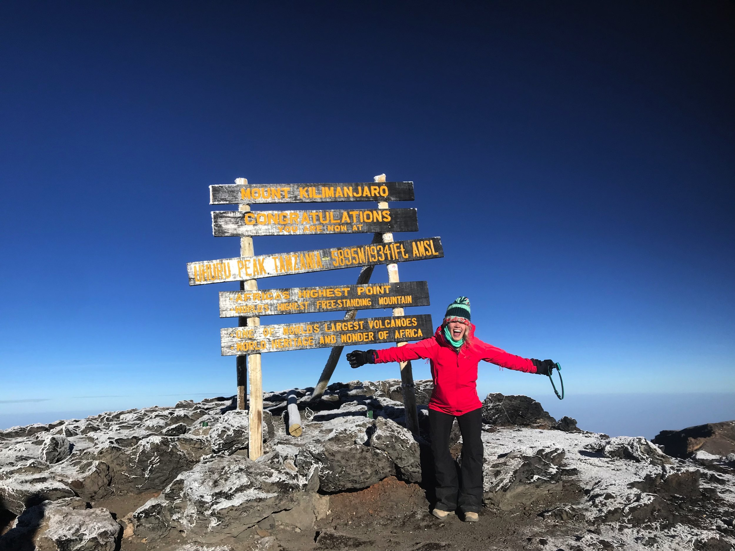 Kyla Cheatley at the Summit of Mount Kilimanjaro