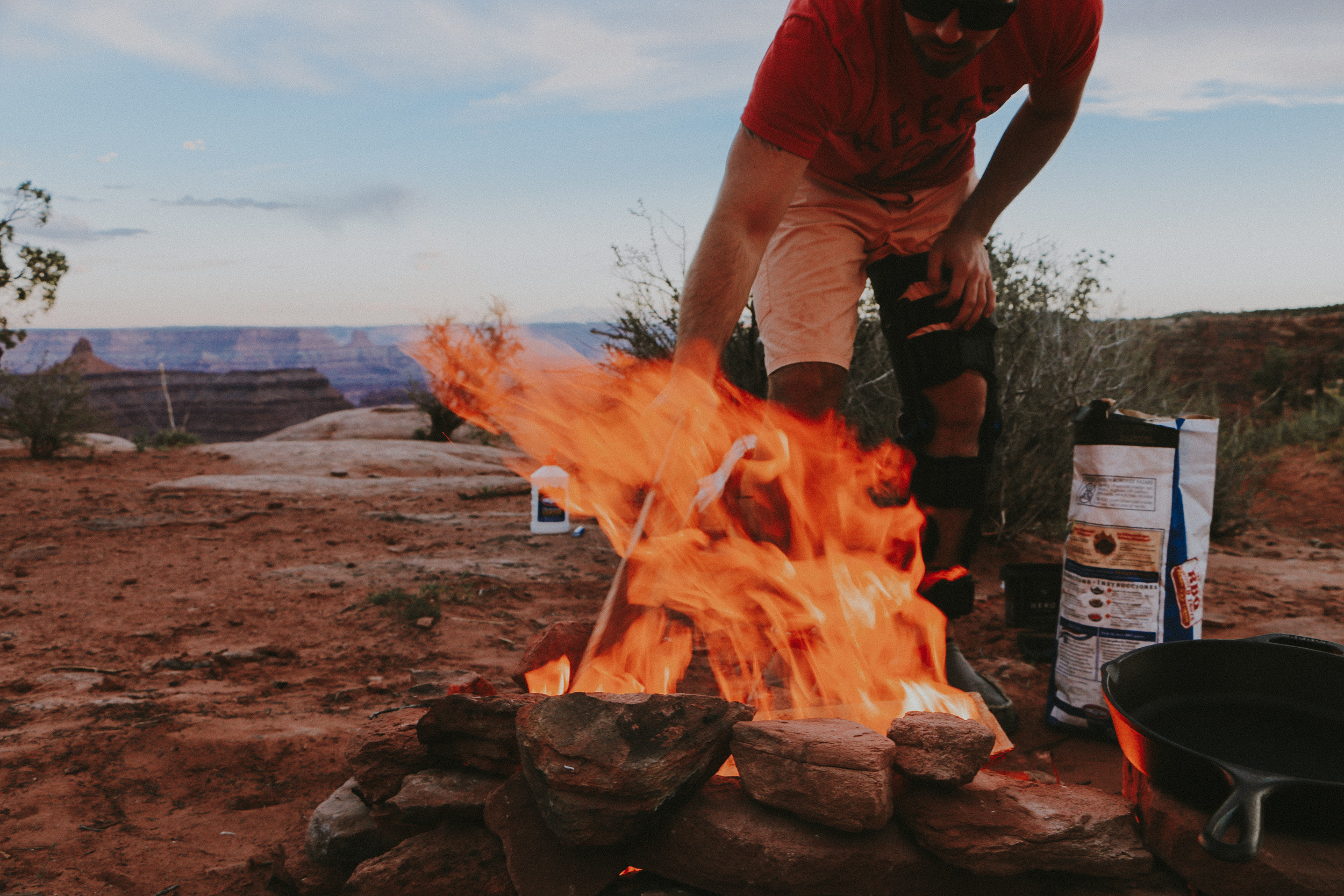 Making a fire at our campsite at Canyonlands National Park