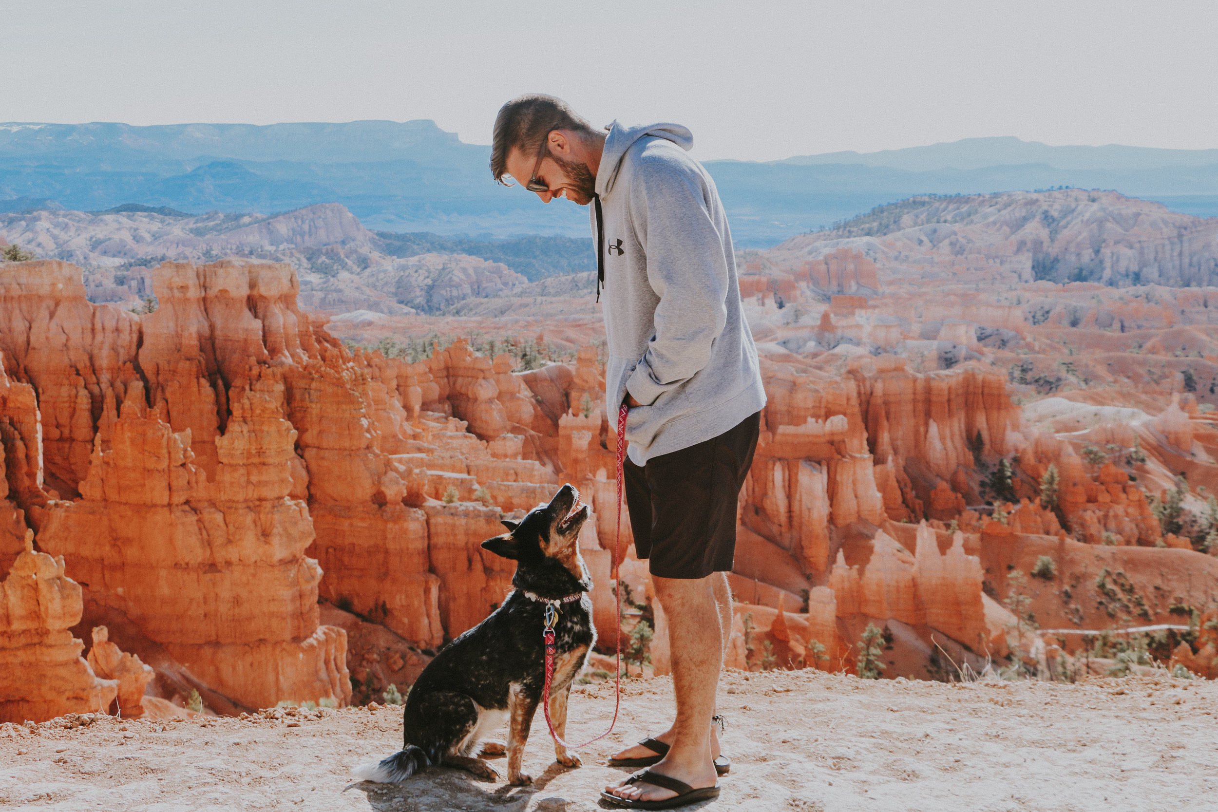 Cute boy and cute dog at Bryce Canyon National Park