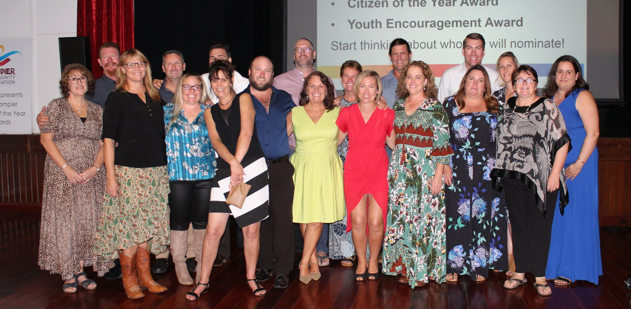 2018 Ernie Willams Citizens of the Year nominees  Left to Right : Sharyn Creighton, Red Abercromby, Karissa Ammerer, Graham Ferguson, Krstin McLuckie, Wendy Rogers, Adam Bell, Grant Theelen, Conor O'Brien, Tracey Stewart, Tracey Bell, Sarah Board, Rocket Nicholl, Jo Leo, Scott Bourne, Jas Ashcroft, Stacey Hambley, Gill Furlong (DCA President) and Nichole Smith.  Sadly missing Roz Powell, Jodie Wilson, Brendon Archer and Apryl O'Brien