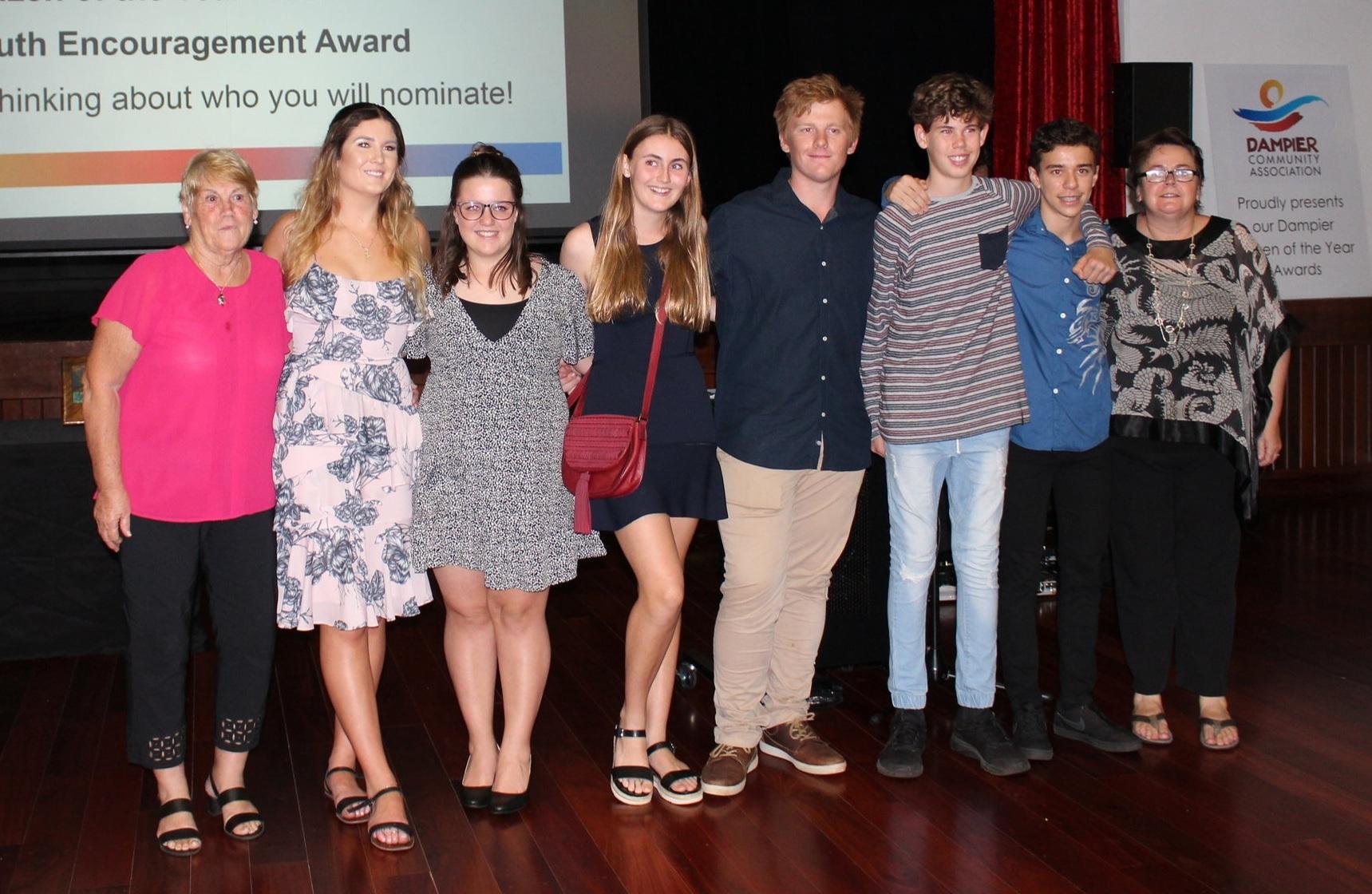 Harry Chilvers Youth Encouragement Award nominees  Jean Chilvers, Angel Beeton, Kyla McLuckie, Astyn Wigley, Jimmy O'Brien, Boston Geikie, Sam Howie Gill Furlong (DCA President)