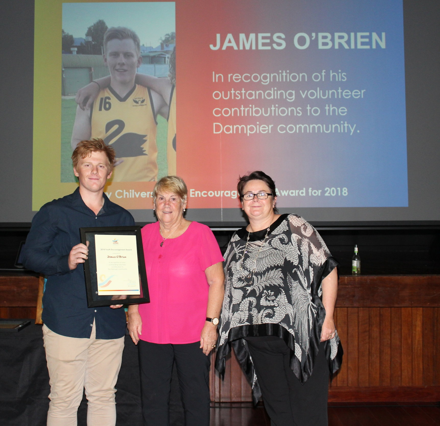 2018 Harry Chilvers Youth Encouragement Award Winner :  Jimmy O' Brien, Jean Chilvers, Gill Furlong