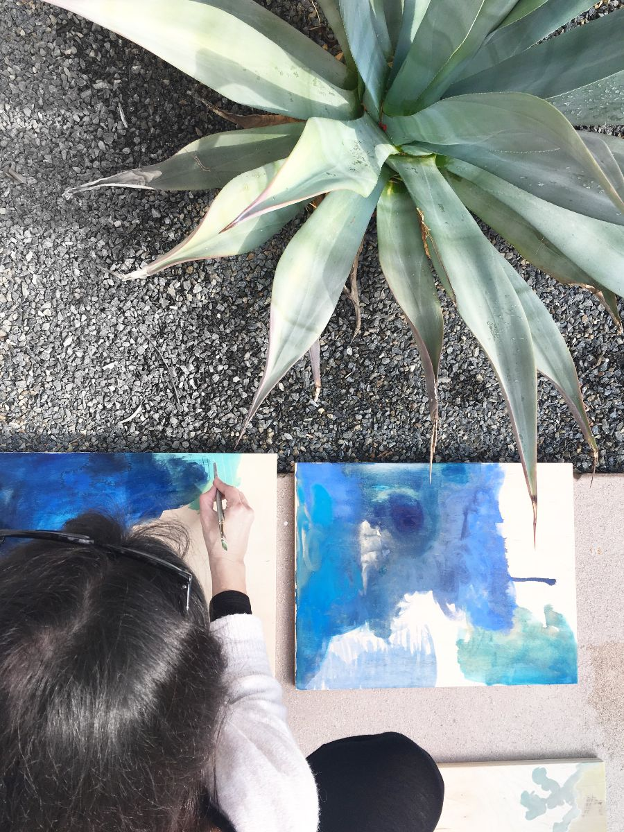 My friend    Consu Tolosa    working on paintings in Palm Springs