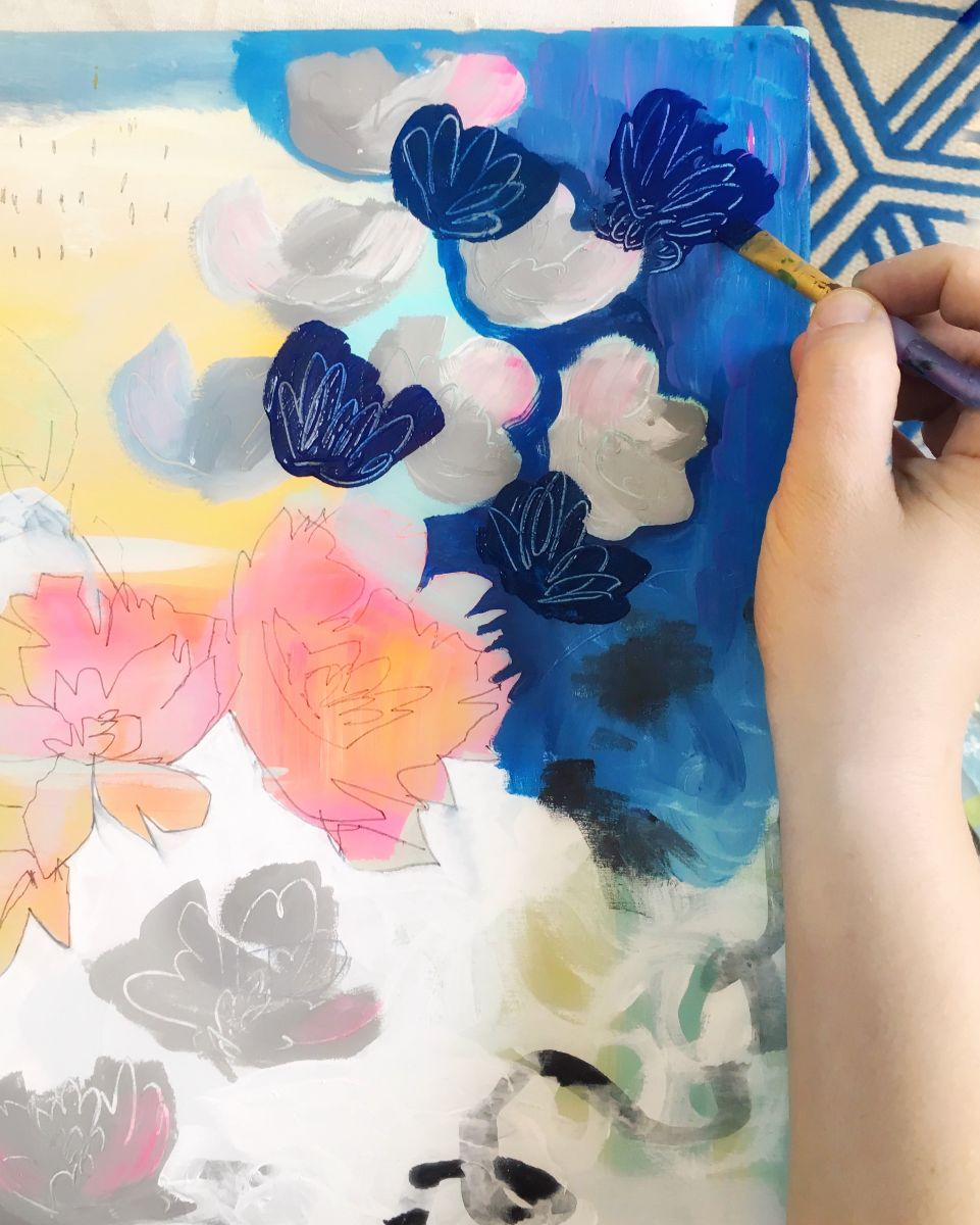Collaborative painting: Here I am adding deep blue and soft gray flowers in response to hot pink flowers by    Pam Garrison    and yellow abstract marks by    Alicia Schultz    and doodled lines by    Consu Tolosa