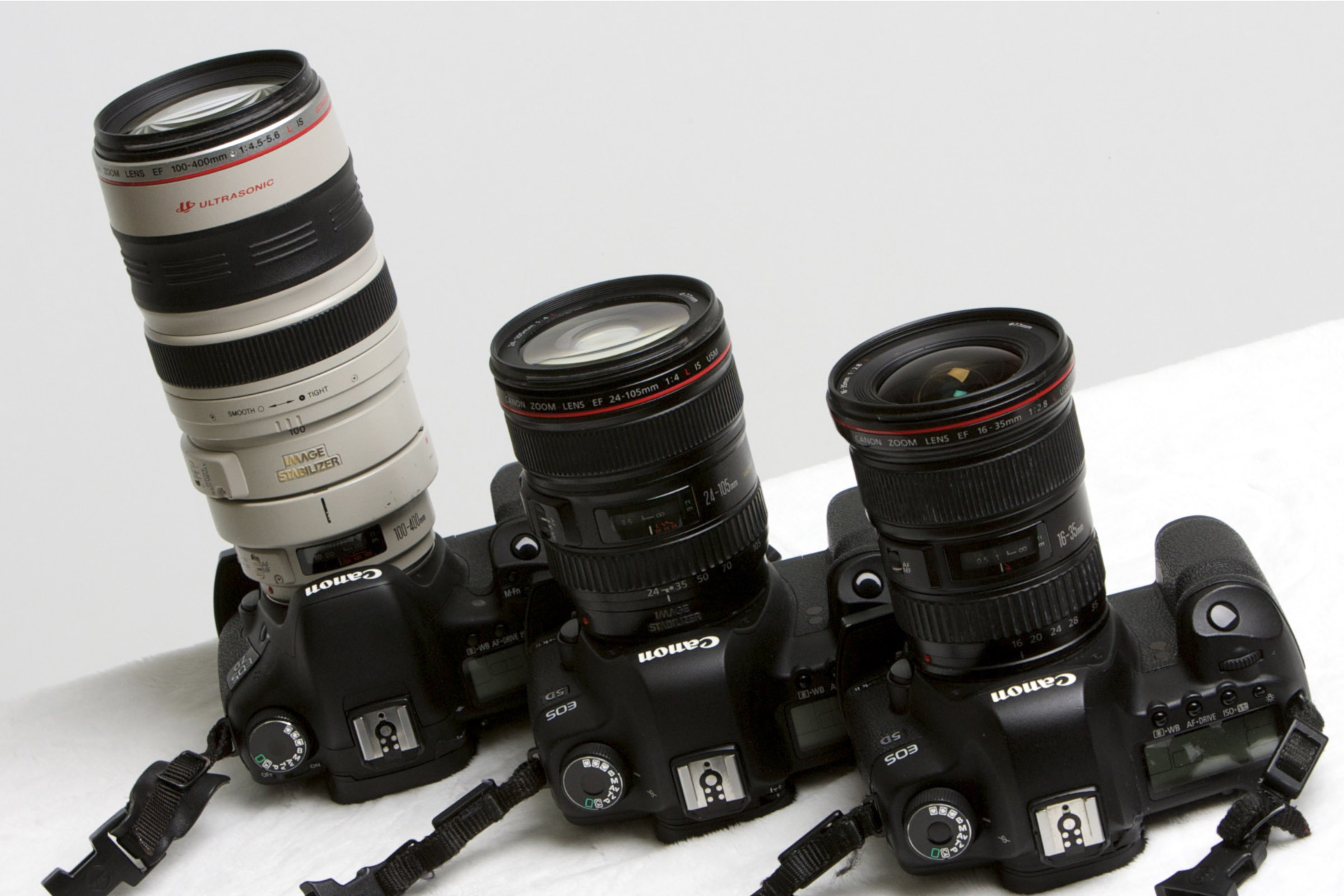 L to R: 100-400mm, 24-105mm, 16-35mm