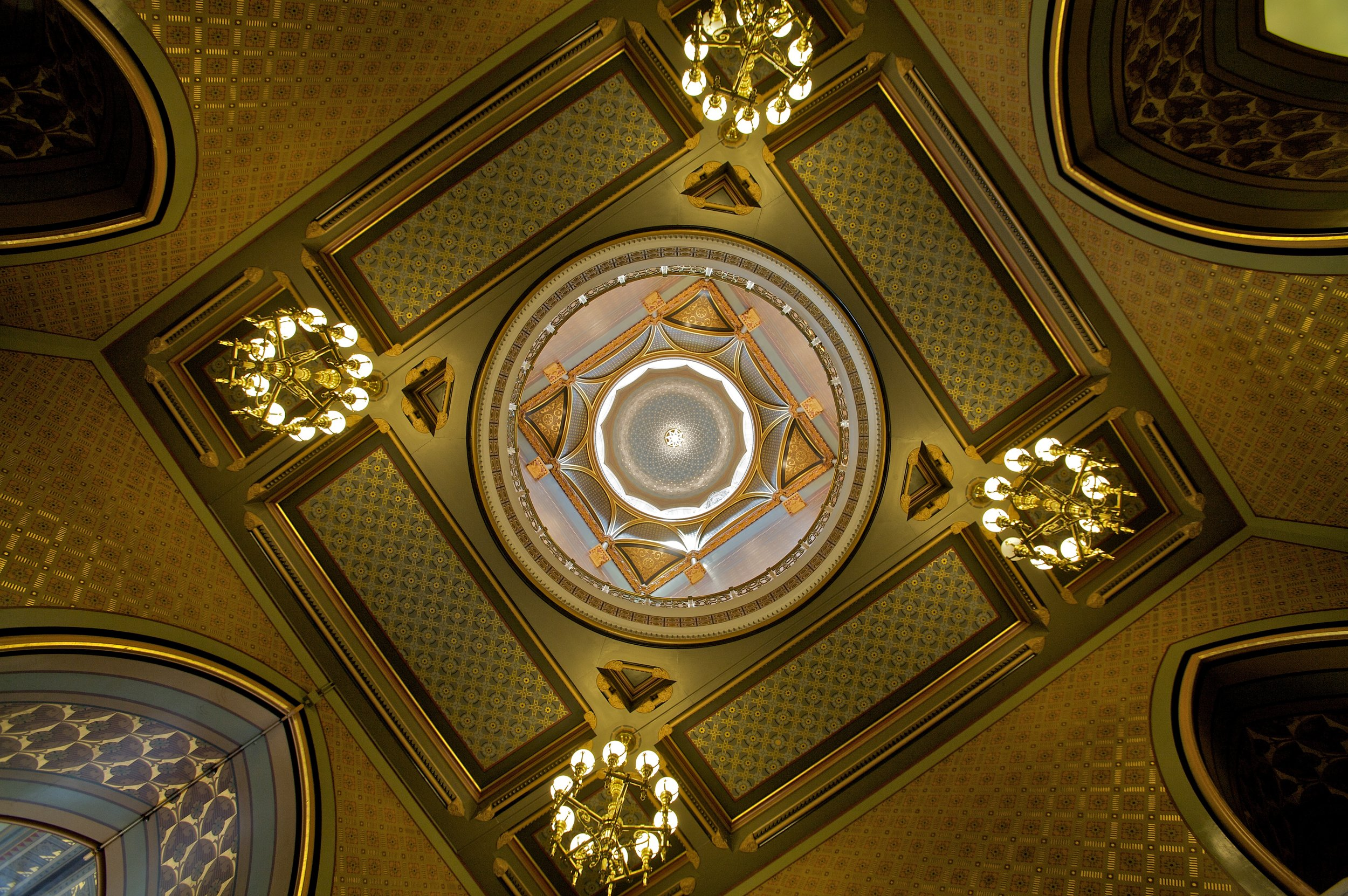 Looking up into the square rotunda of the Connecticut state capitol - 16mm, Canon 5D.