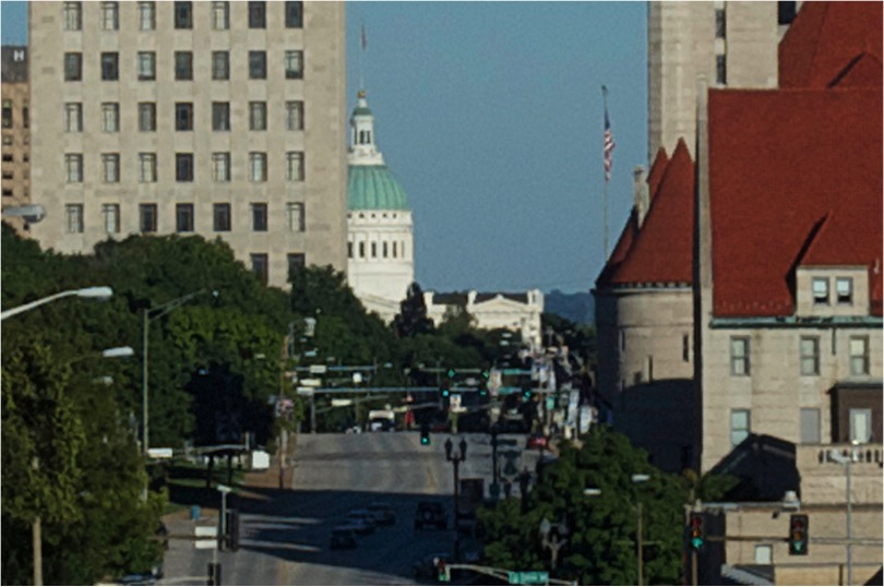 Looking at the historic downtown of the premier city of the American Midwest - cropped from 50mm photo, same vantage point as above