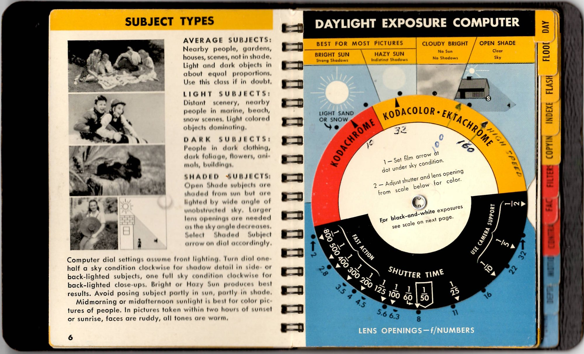Daylight Exposure Computer from the 1956 version of the Kodak Master Photo Guide