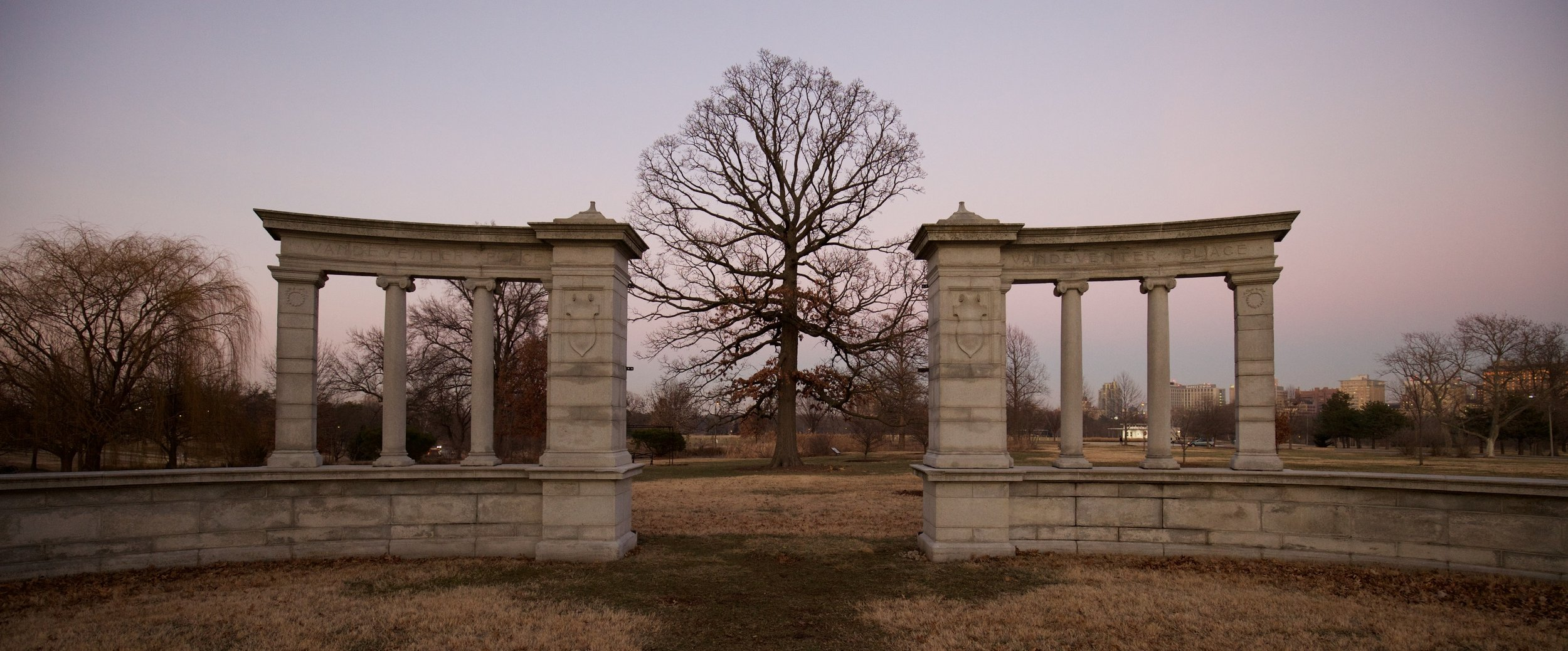 The Vandeventer Place Gates is all that remains of the Fin de siècle private neighborhood.