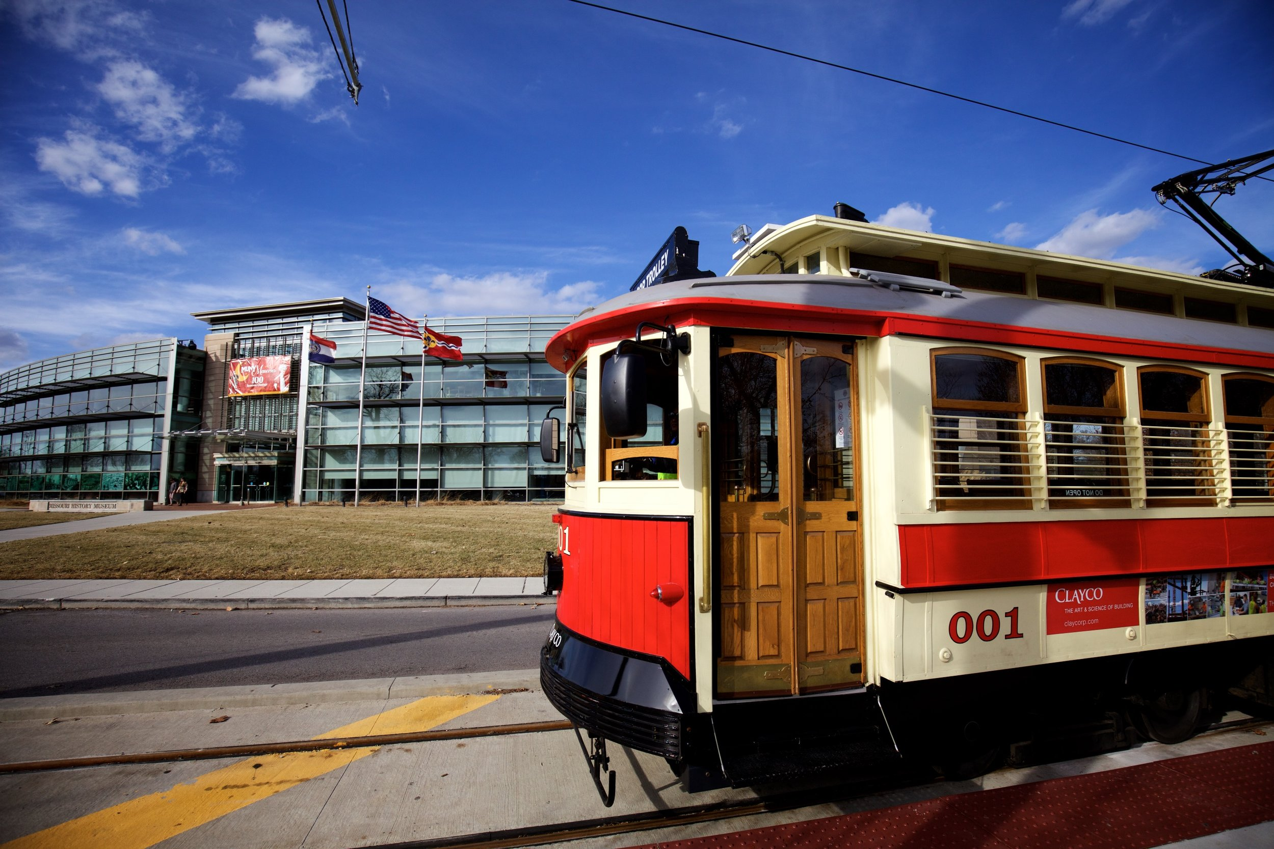 The Loop trolly serves the Delmar Loop and Forest Park, at the History Museum.