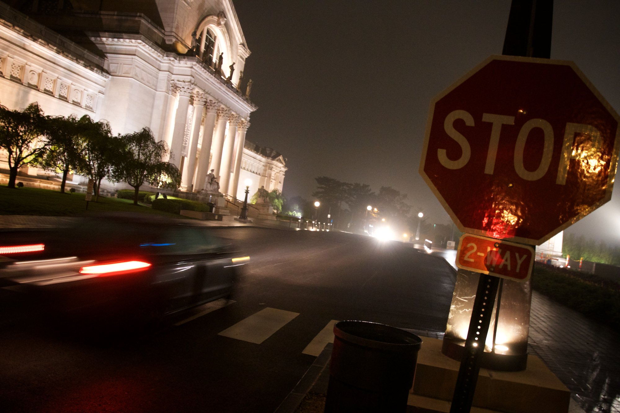 By the Saint Louis Art Museum on a misty night. Click on the image for more photos.