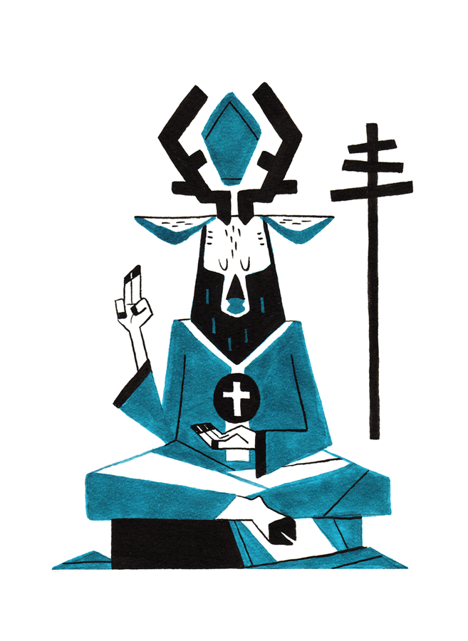 5The Hierophant - Also known as the Pope, the Hierophant is seen as a religious figure, his right hand raised in benediction. The sphere with the cross he holds symbolizes the power of his belief through religious ideas and institutions. The tripe cross scepter he carries signifies his rule over the Heavens, the Earth, and the Underworld.Upright: Tradition, Belief, RighteousnessReversed: Construction, Taboo, Questioning Convention