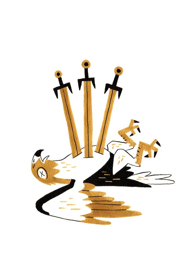 Three of Swords - Upright: Sorrow, Heartbreak, BetrayalReversed: Passing Negativity, Healing, Letting Go