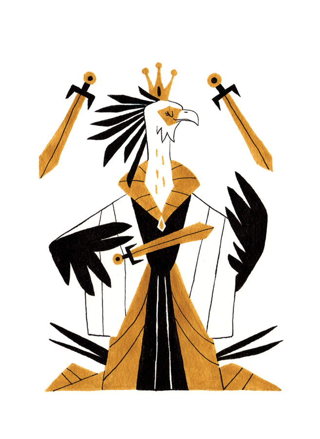Queen of Swords - Upright: Intelligence, Courage, RationalityReversed: Cold Heartedness, Lack of Objectivity, Intolerance