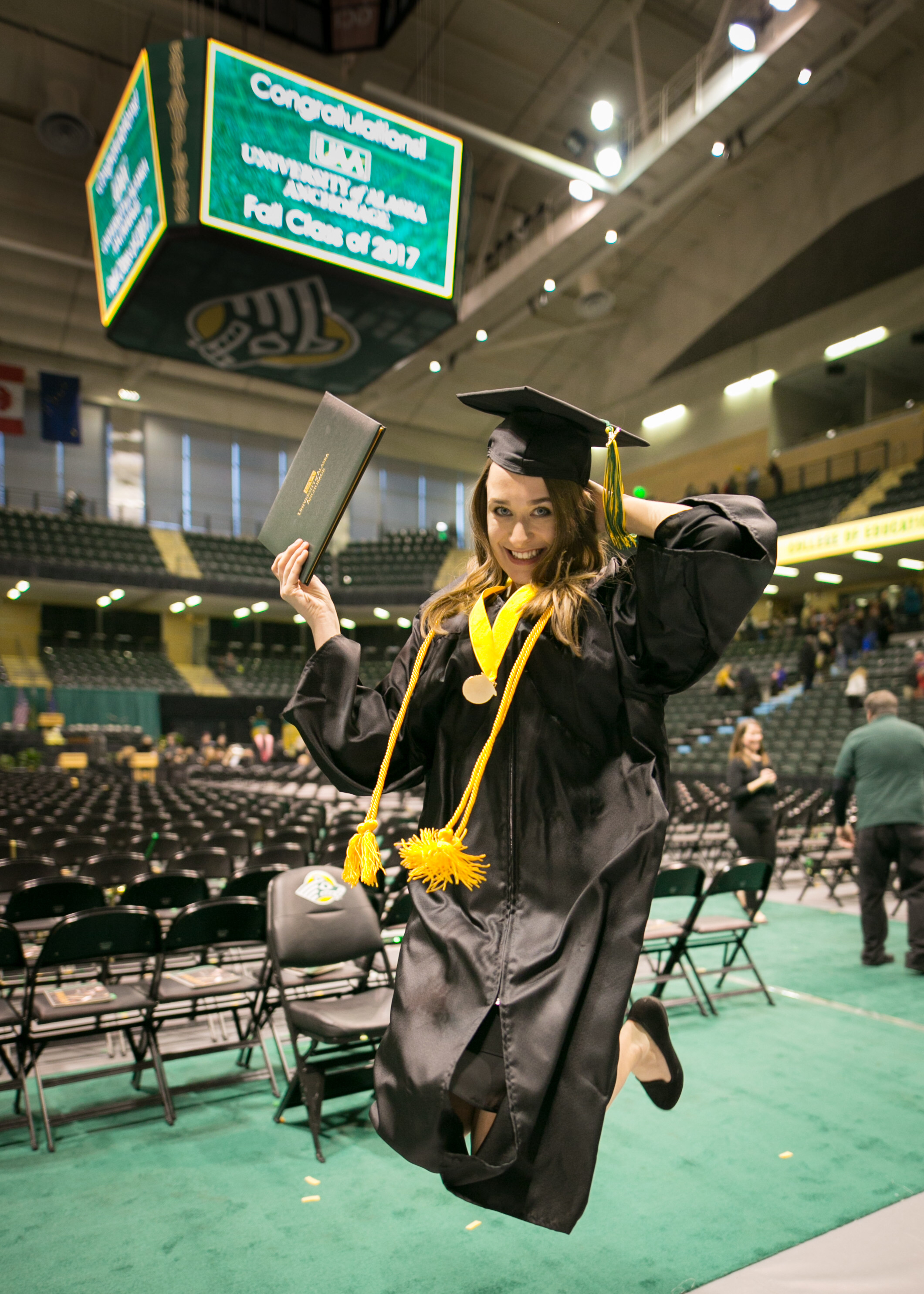 CED Research Assistant, Ciara Zervantian, celebrates her graduation from UAA with a Bachelor of Arts in Psychology and Sociology, December 2017.
