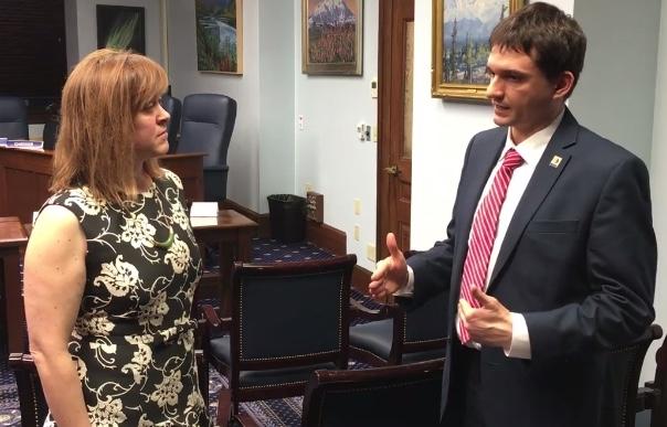 CED Executive Director Nolan Klouda discusses entrepreneurship in Alaska with Senator Mia Costello.