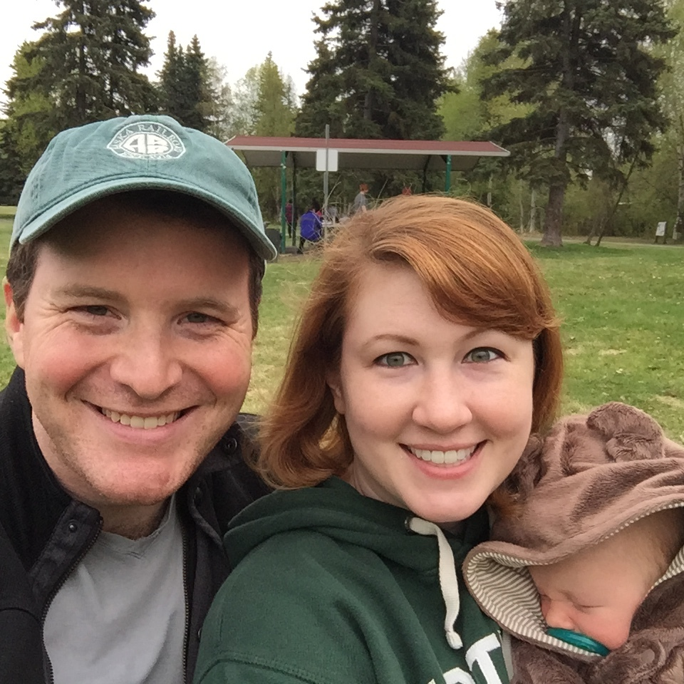 Greg and Moira Gallagher with their son George at Anchorage's Valley of the Moon park. Moira is in charge of the Anchorage Economic Development Corp. Live.Work.Play. initiative. Photo credit: Greg Gallagher