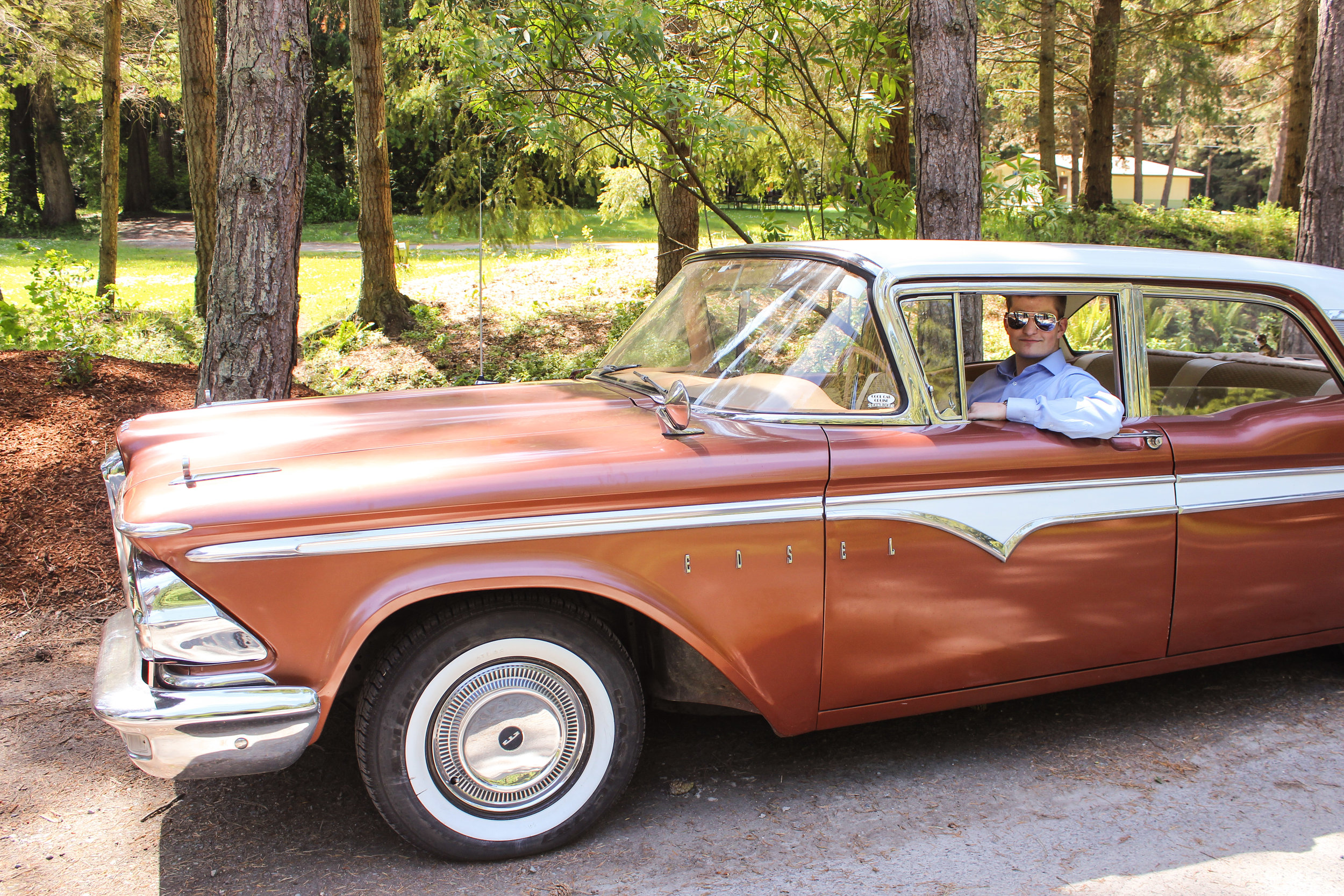 Ian in a 1959 Edsel Ranger 4-door sedan