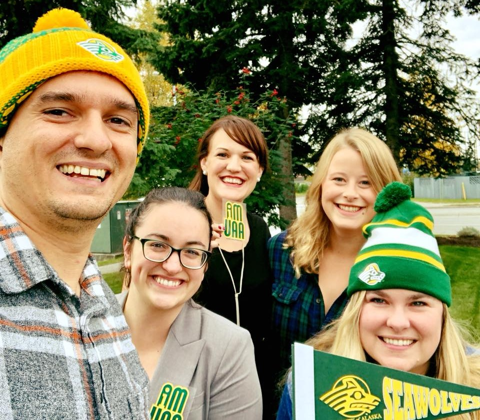 Team CED repping UAA on Seawolf spirit day
