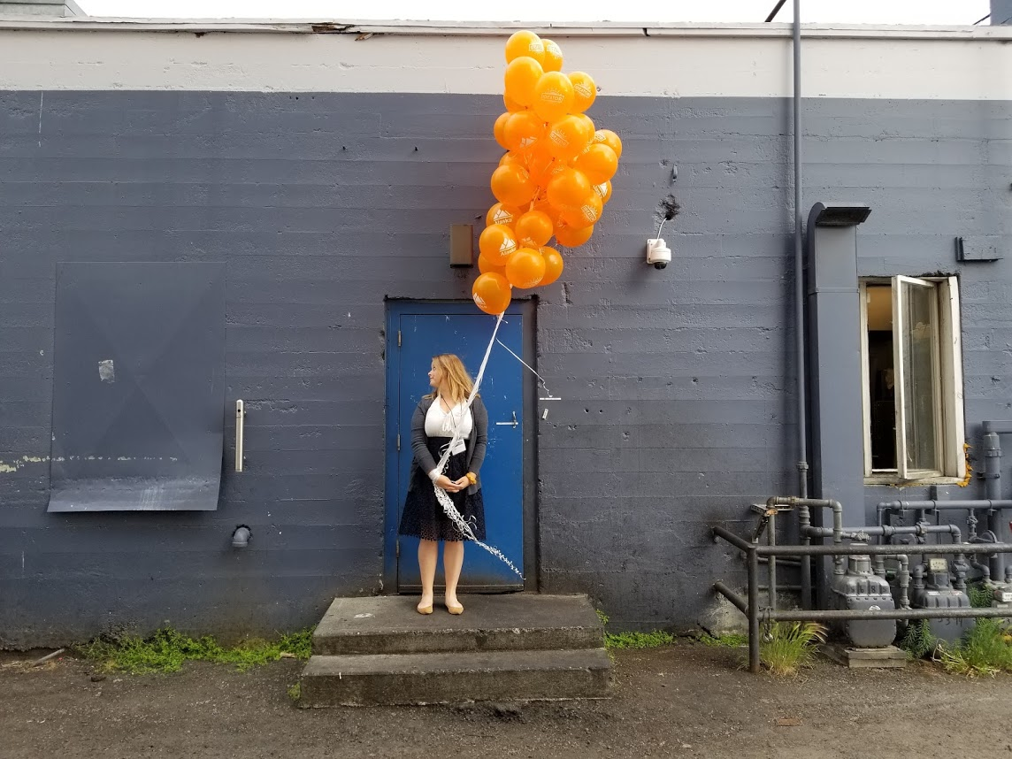 Julia with Alaska Startups balloons… because, why not?