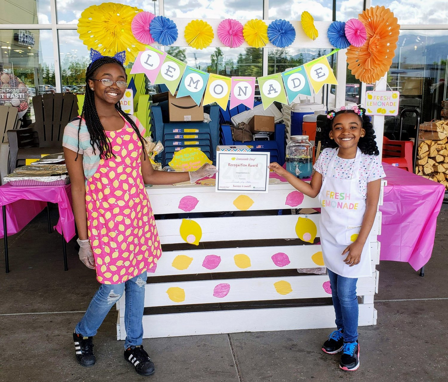 Aaliyah and Amiyah of Double A's Lemonade Stand won last year's Entrepreneurs of the Year award for their creating branding, investor partnerships and new recipes at their stand. (Photo courtesy of Lemonade Day Alaska)