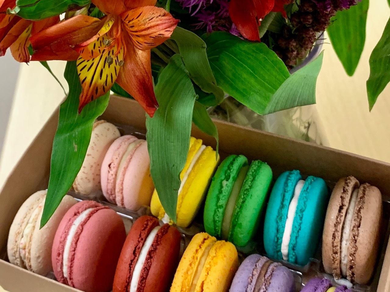 Rainbow macarons from Sweet Caribou