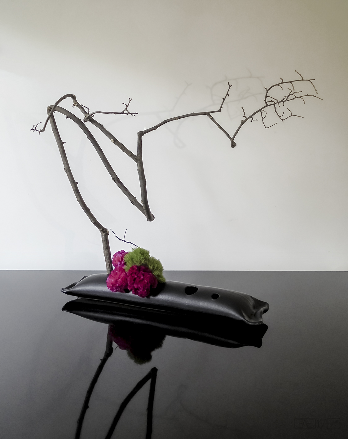 Freestyle arrangement using weeping mulberry branch
