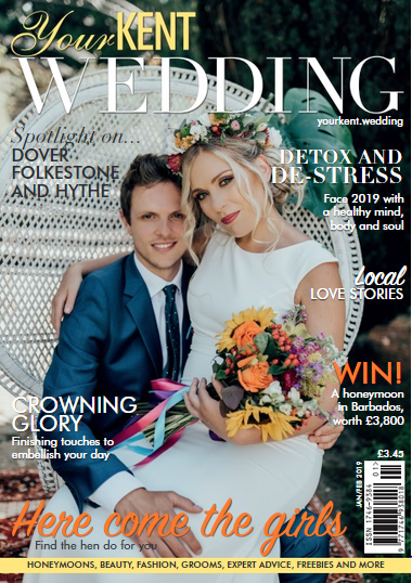Your Kent Wedding Magazine-Jan/Feb 2019 - Caro Events was featured as part of the Crowning Glory article, which focused on the finishing touches that can help create the perfect wedding.We were chosen as 'E for Elegance' and they highlighted our venue styling skills.