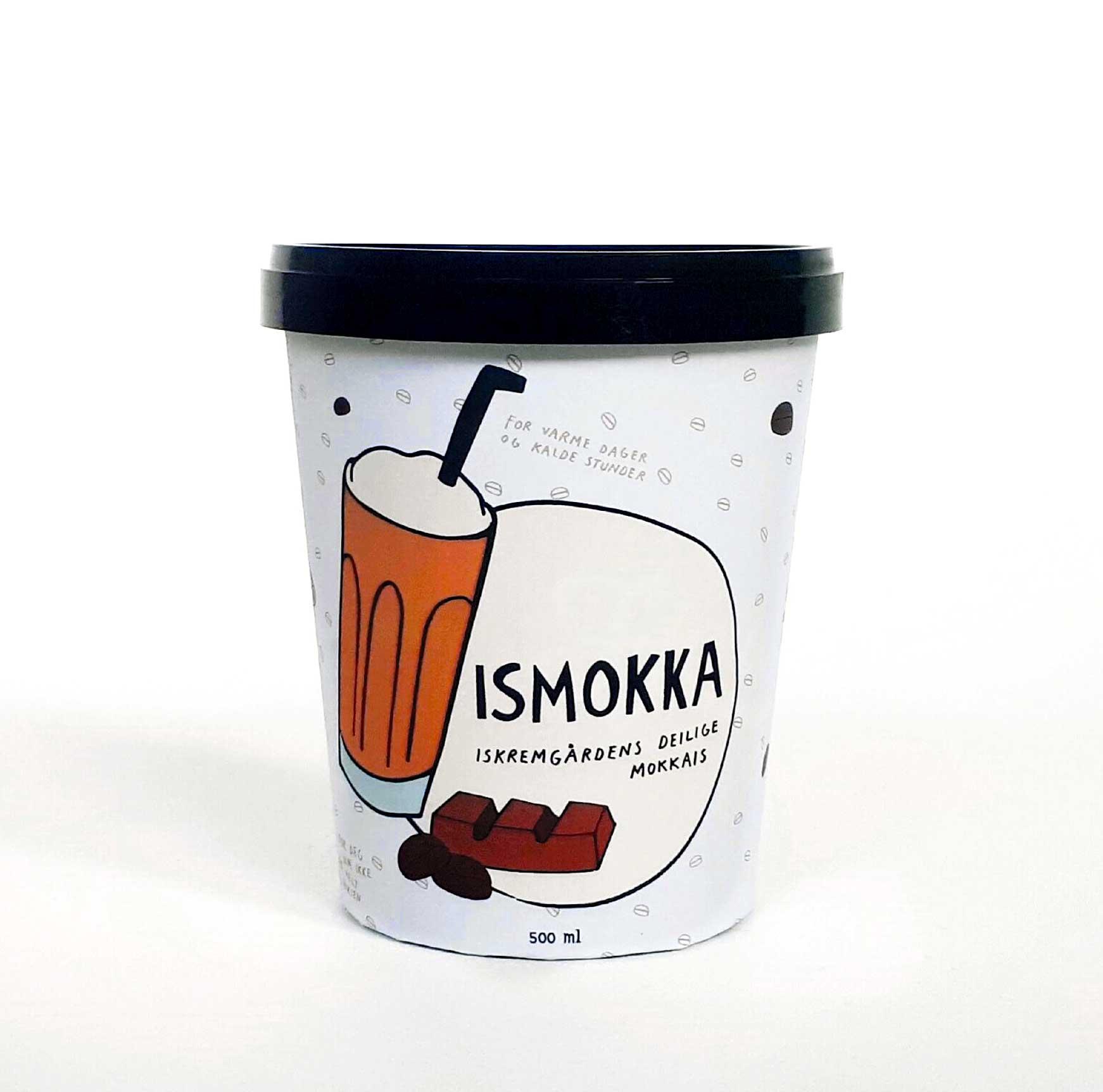 ISMOKKA   Iskremgårdens deilige mokkais. For deg som ikke er helt voksen.  En herlig kombinasjon av vanlijeis, sjokolade og kaffe. Perfekt på en varm sommerdag.