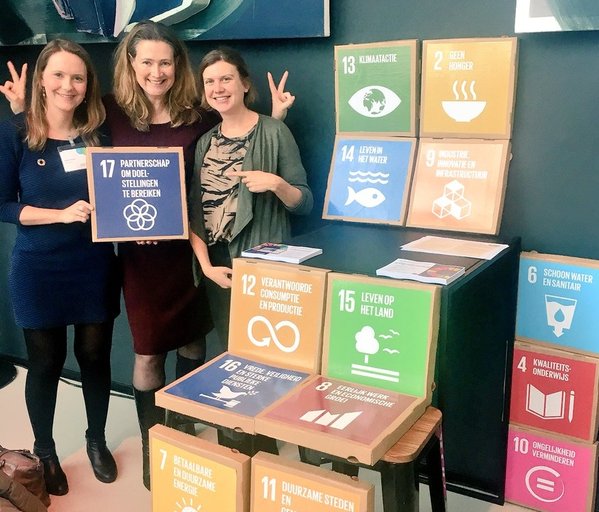 From left to right: Rosalie, Maresa and Lieke of the SDG Charter Bureau.