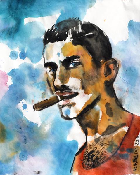 Rodrigo con cigarro