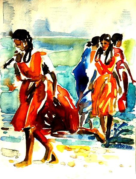 SCHOOL GIRLS ON THE BEACH