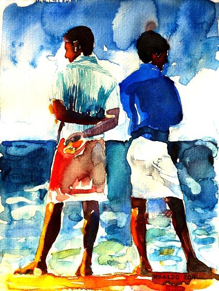 TWO MEN WATCHING THE OCEAN