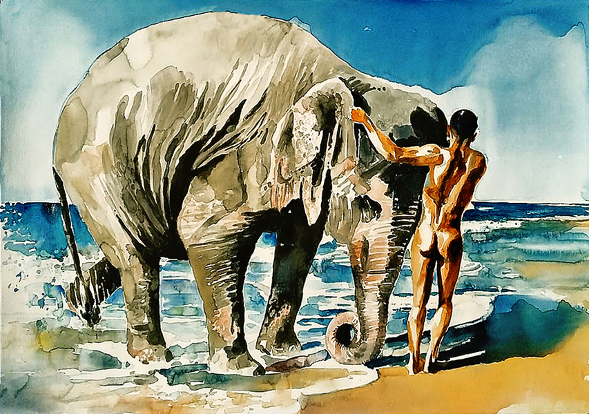 BIG ELEPHANT BATH #1