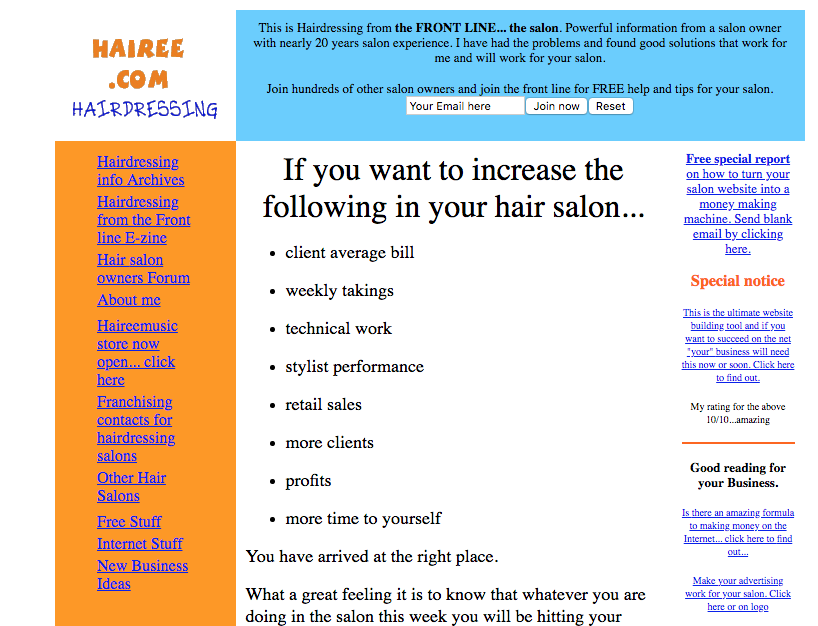 This is Hairee.com from the late 90s
