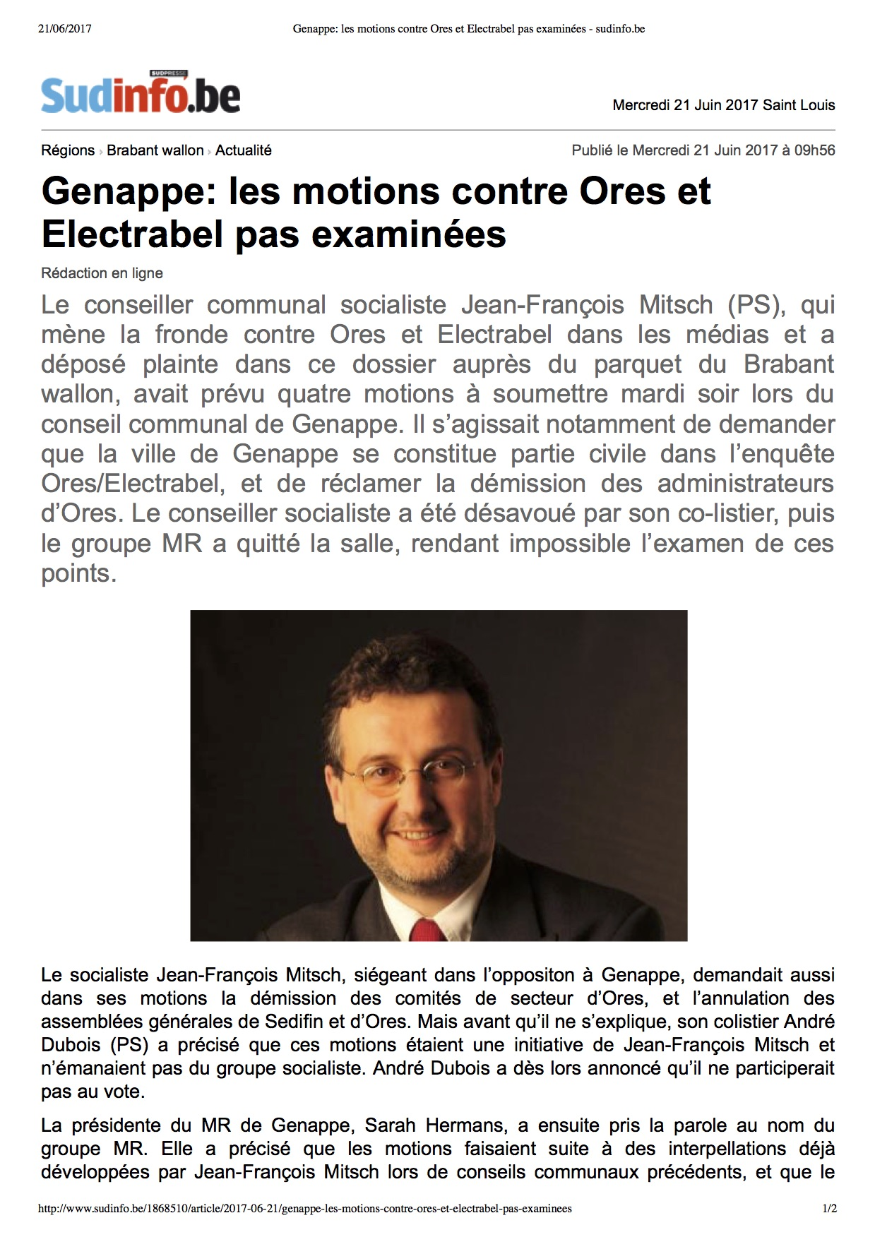 Genappe_ les motions contre Ores et Electrabel pas examinées - sudinfo.jpg