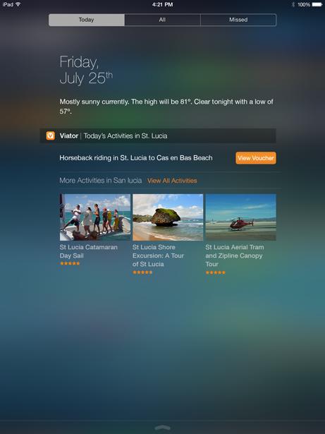 Viator's iOS 8 Today Feature iPad Widget